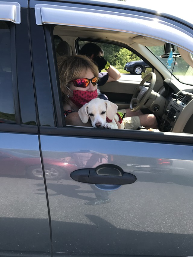 Patricia Mallette of North Clarendon and her puppy, Molly - SALLY POLLAK