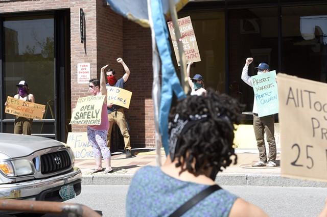 Educators rallying last week in Montpelier - FILE: JEB WALLACE-BRODEUR