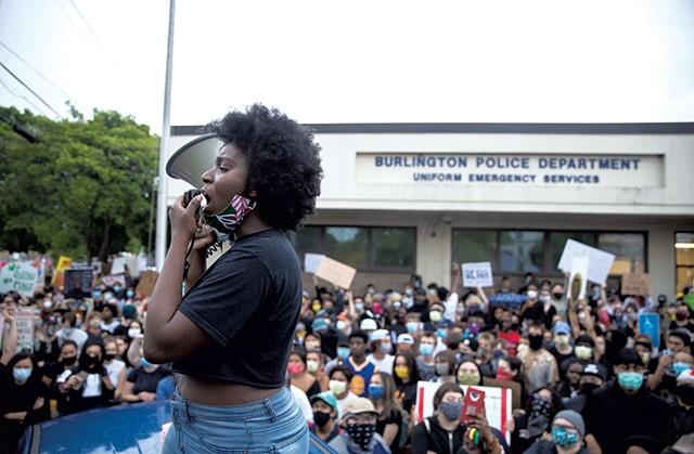 Harmony Edosomwan leading the protest - JAMES BUCK