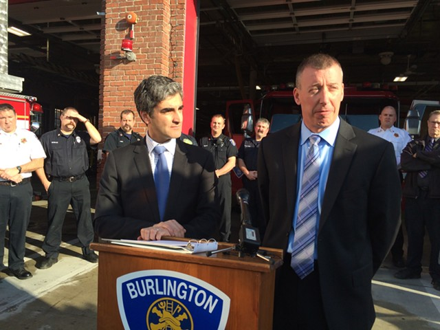 Mayor Miro Weinberger introduces his pick for Burlington's new fire chief: Steven Locke. - ALICIA FREESE