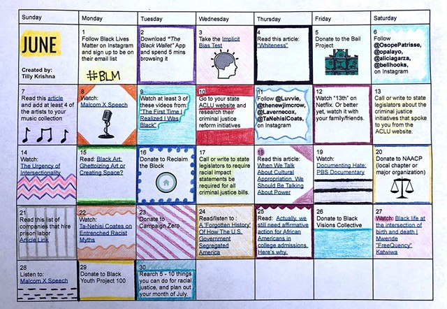 Anti-Racism Challenge calendar created by Tilly Krishna - COURTESY OF TILLY KRISHNA