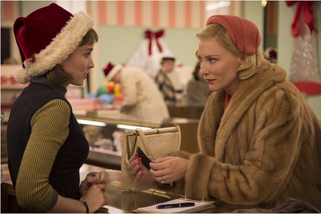 Cate Blanchett looks like she has a Christmas present for Rooney Mara in Carol. - WEINSTEIN COMPANY