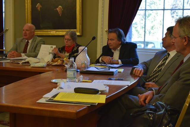 Sen. Jeanette White (D-Windham), second from left, discusses legalizing marijuana at a Statehouse meeting in November. - TERRI HALLENBECK