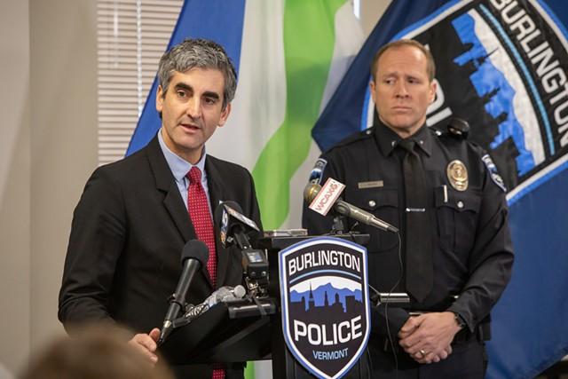 Mayor Miro Weinberger and Deputy Chief Jon Murad last December - FILE: LUKE AWTRY