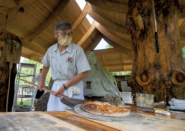 Randy George making pizza at Red Hen Baking - JEB WALLACE-BRODEUR