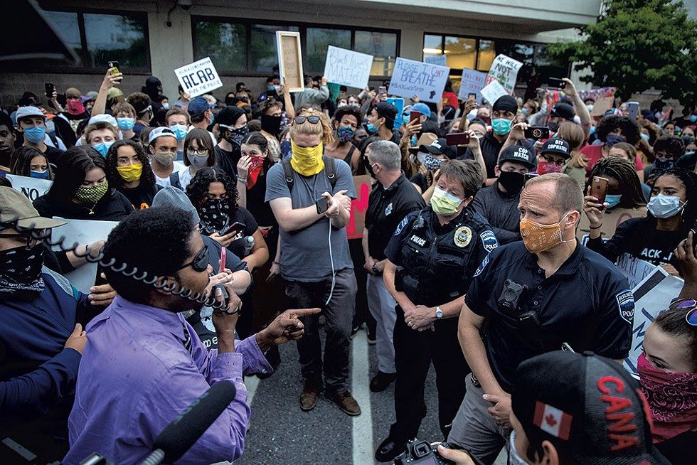 Activists confronting Burlington police chiefs at a May 30 protest - JAMES BUCK