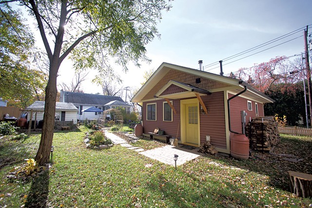 Ruby Perry and Andy Simon's tiny house sits in a South End backyard. - JAMES BUCK