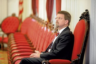House Speaker Shap Smith last January, sporting the goatee - FILE: JEB WALLACE-BRODEUR
