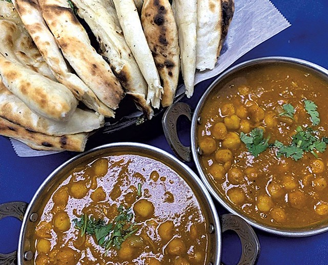 Chana masala and naan from Kathmandu Restaurant - COURTESY OF KATHMANDU RESTAURANT