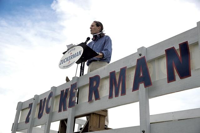 Lt. Gov. David Zuckerman addressing supporters in a farm field - JAMES BUCK