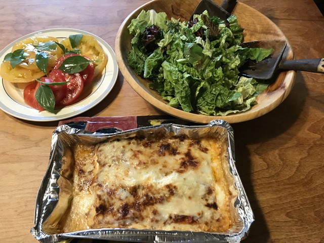 Shelburne Farms lasagna with salad - SALLY POLLAK ©️ SEVEN DAYS