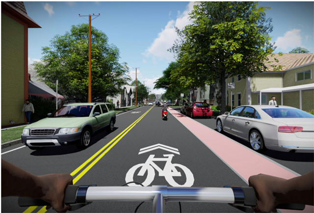 Rendering of a cyclist's view on Pine heading north toward Maple Street - CITY OF BURLINGTON