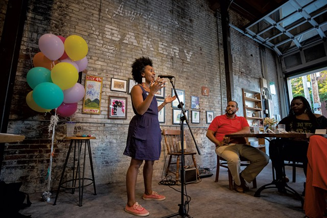 Ferene Paris Meyer performing at her Feed Your Soul pop-up at August First - JAMES BUCK