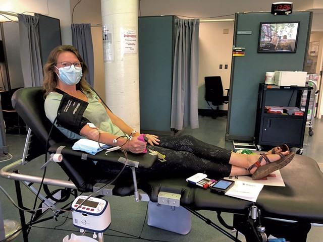 Kailey Stevens donating plasma - COURTESY OF KAILEY STEVENS
