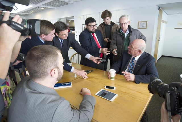 Reporters interrogate Sen. Norm McAllister Tuesday morning in the Statehouse cafeteria. - JEB WALLACE-BRODEUR