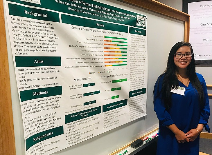 Cao presenting her independent research on the spread of vaping among Vermont youths - COURTESY OF VY CAO