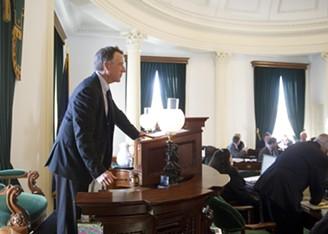 Lt. Gov. Phil Scott gavels in the 2016 legislative session - JEB WALLACE-BRODEUR