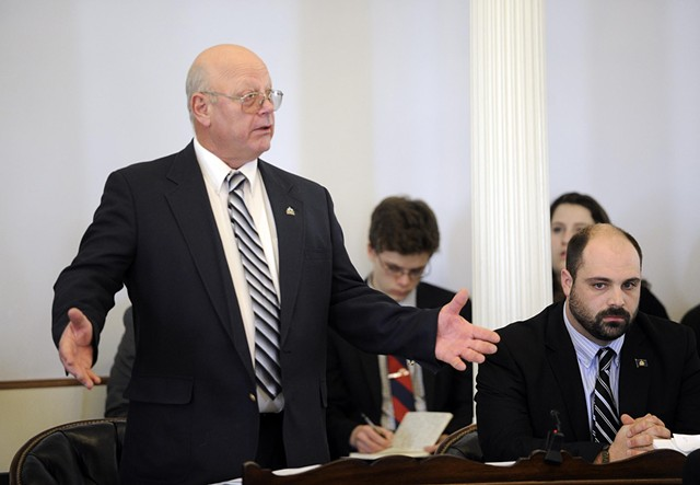 Sen. Norm McAllister defends himself on the floor of the Senate Wednesday. - JEB WALLACE-BRODEUR