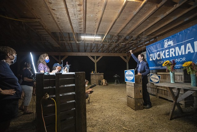 Lt. Gov. David Zuckerman declaring victory Tuesday night at his Hinesburg farm - JAMES BUCK ©️ SEVEN DAYS