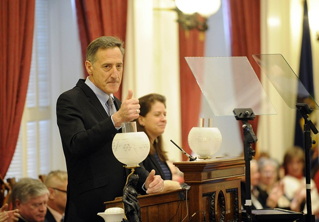 Gov. Peter Shumlin gives his final State of the State address Thursday afternoon at the Statehouse in Montpelier. - JEB WALLACE-BRODEUR