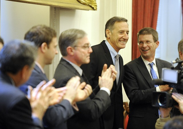 Legislators applaud Gov. Peter Shumlin - JEB WALLACE-BRODEUR