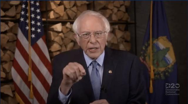 Sen. Bernie Sanders (I-Vt.) - SCREENSHOT OF DEMOCRATIC NATIONAL CONVENTION LIVESTREAM ©️ SEVEN DAYS