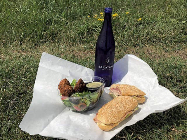 A Beach hoagie and a falafel salad from Haymaker Bun - SALLY POLLAK ©️ SEVEN DAYS