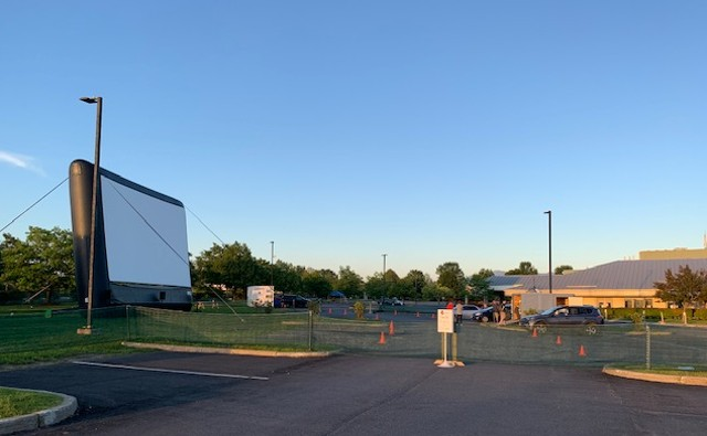 The drive-in preparing to receive customers at the Essex Experience on Saturday evening - MARGOT HARRISON ©️ SEVEN DAYS