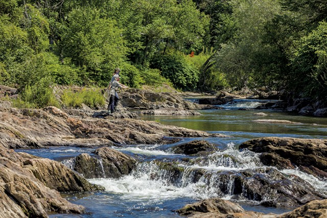 Stephanie Olsen leading a fly-fishing tour in Stowe - OLIVER PARINI