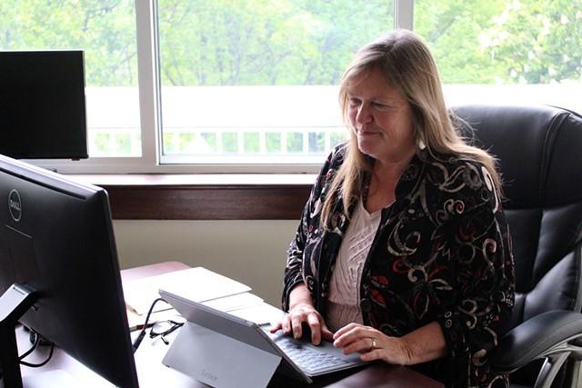 Jane Sanders in May in the campaign office she shares with Sen. Bernie Sanders - FILE: PAUL HEINTZ