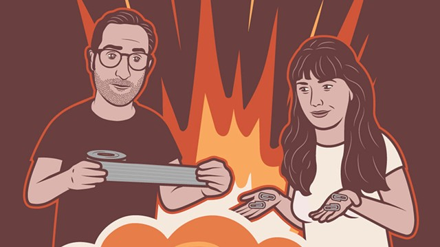 """Illustration of Nathan Hartswick and Annie Russell, hosts of """"Duct Tape & Paperclips"""" - COURTESY OF THOMAS MICHAEL HILL"""