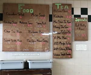The opening menu at Lion Turtle Tea - JORDAN BARRY ©️ SEVEN DAYS
