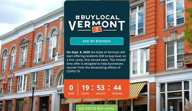 The #BuyLocalVermont website - SCREENSHOT
