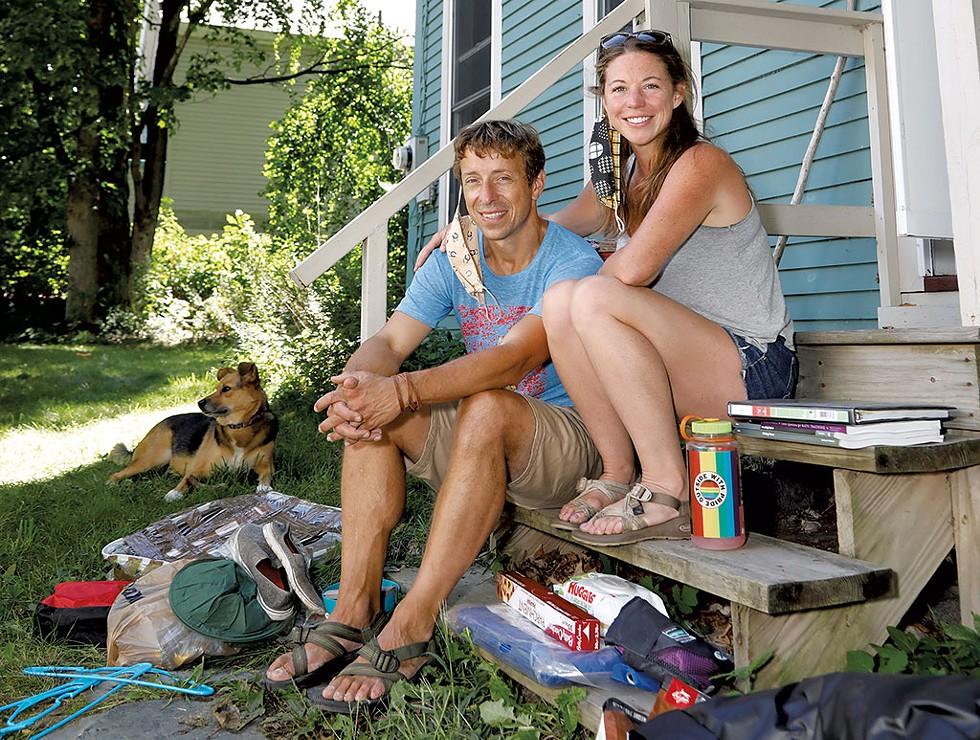 Brandon Conrad and Donna Lloyd with their dog, Hesse - DAVID SHAW