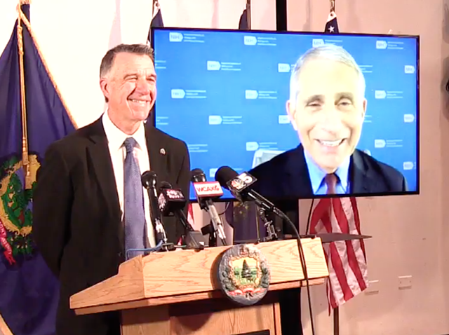 Dr. Anthony Fauci with Gov. Phil Scott at Tuesday's press conference - SCREENSHOT