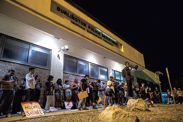 Protesters in front of the Burlington Police Department - FILE: JAMES BUCK