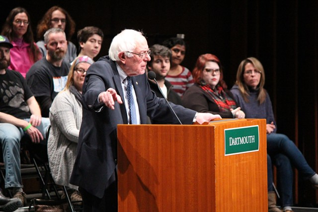 Sen. Bernie Sanders speaks last week at Dartmouth College - PAUL HEINTZ