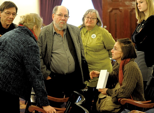 Sen. Jeanette White, left, speaking with Stuart Savel, center, and Emily Amanna, seated, from Vermont Home Grown - JEB WALLACE-BRODEUR