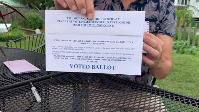 An absentee ballot from Vermont's August primary - EVA SOLLBERGER ©️ SEVEN DAYS