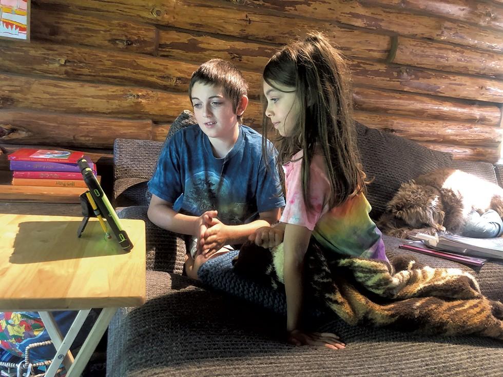 Sebastian and Aviana homeschooling - COURTESY OF RANDI BECKER