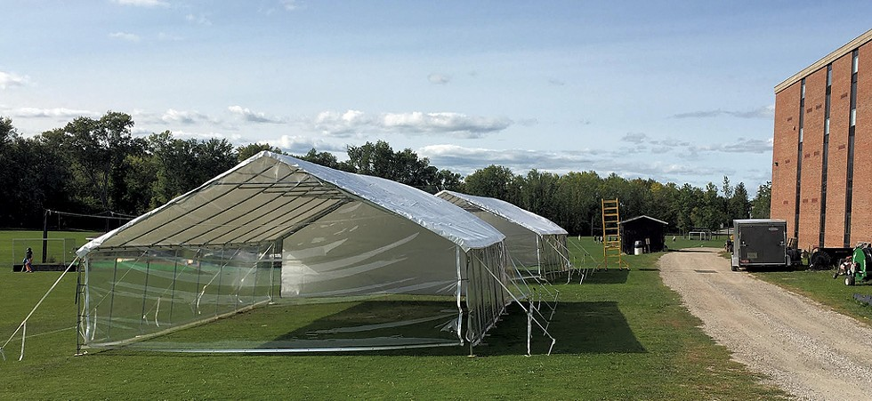 Outdoor learning tents at Middlebury Union High School - COURTESY OF MICHELLE STEELE