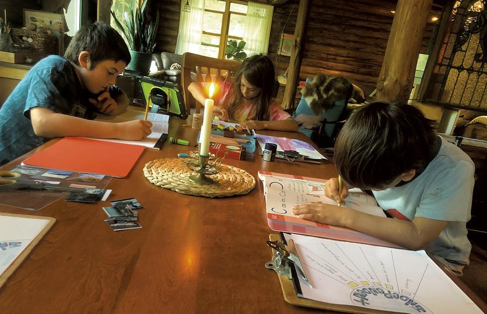 The Becker kids homeschooling - COURTESY OF RANDI BECKER