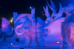 """""""Explosion,"""" Team Vermont's 2015 entry into the 25th Budweiser International Snow Sculpture Championships - COURTESY OF MICHAEL NEDELL"""