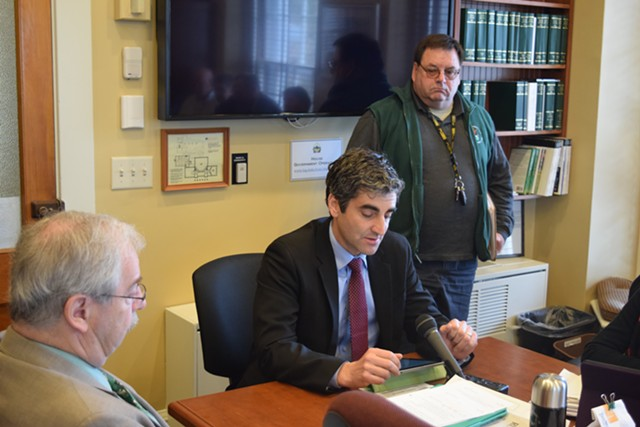 Burlington Mayor Miro Weinberger speaks last year to the House Government Operations Committee - TERRI HALLENBECK
