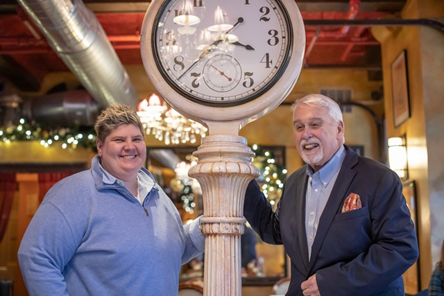 Chef-owner Donnell Collins and former co-owner Bob Conlon of Leunig's Bistro & Café, the first restaurant fundraiser participant - FILE: LUKE AWTRY ©️ SEVEN DAYS