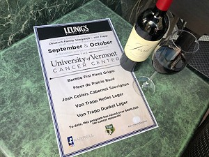 UVM Cancer Center fundraiser flyer at Leunig's - COURTESY JEFF S. BAKER II