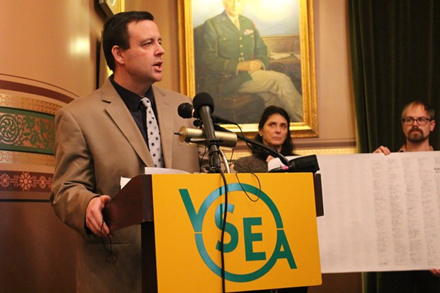 VSEA executive director Steve Howard at a Statehouse press conference - FILE: PAUL HEINTZ ©️ SEVEN DAYS