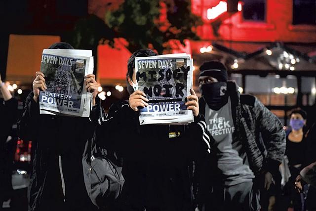 Protesters in Burlington - COURTESY OF MATT HEASLEY