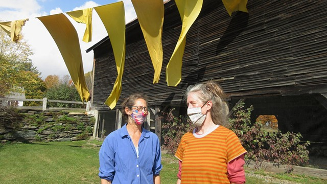 """Nel Emlen, left, and Allyson Evans with """"Laundry: Homage to Christo"""" - AMY LILLY"""