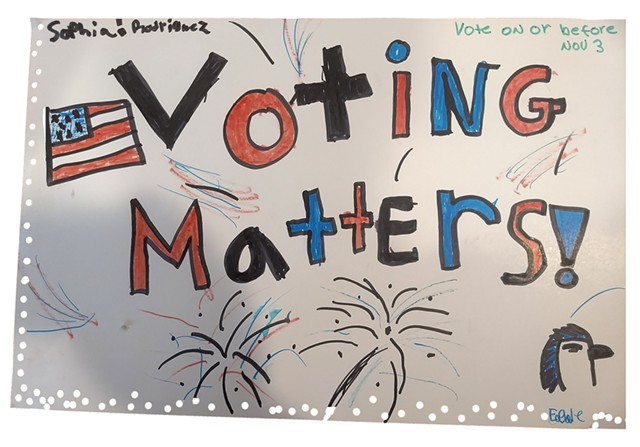 Jeffersonville fourth grader Sophia Rodriguez drew this poster encouraging adults to vote as part of the September Good Citizen Challenge. - COURTESY
